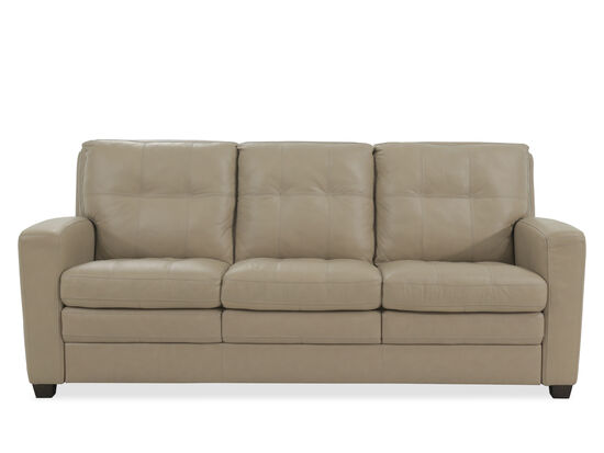 "Leather Tufted 82"" Sofa in Beige"
