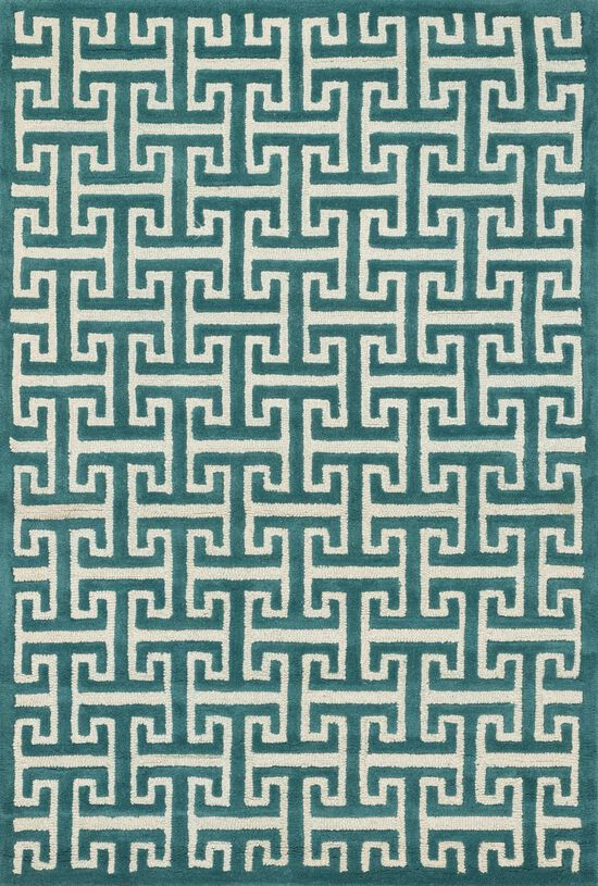 """Contemporary 3'-6""""x5'-6"""" Rug in Teal"""