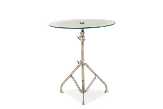 Adjustable Height Contemporary Accent Table in Silver