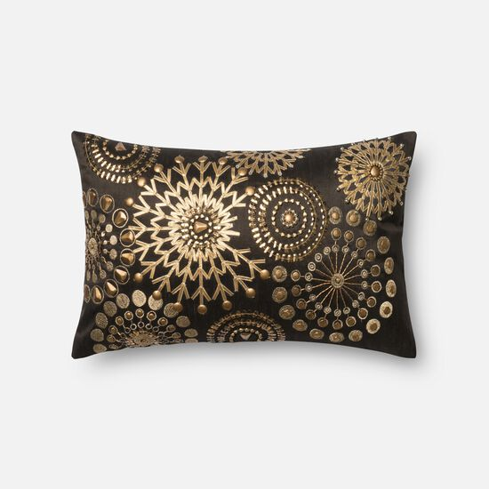 """Contemporary 13""""x21"""" Cover w/Down Pillow in Brown/Gold"""