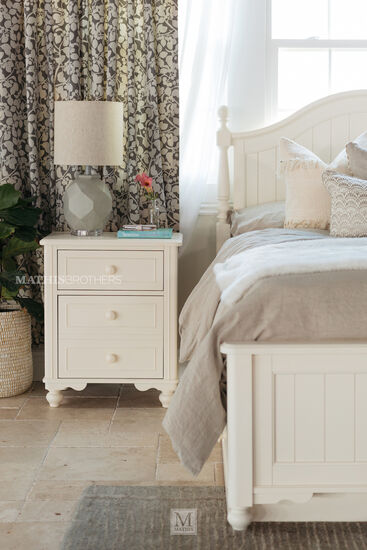 Transitional Paneled Two-Drawer Youth Nightstandin White