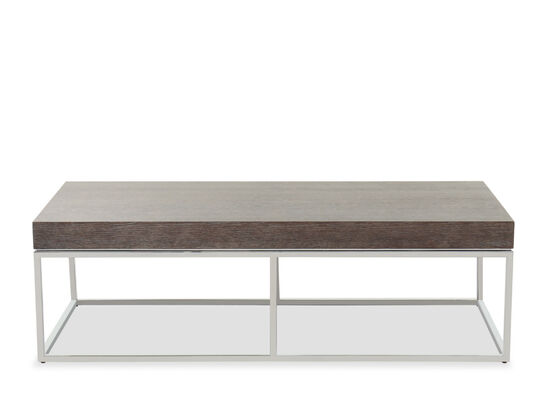 """56"""" Rectangular Wood Top Cocktail Table in Brown/Silver"""