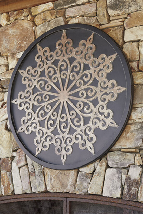 Traditional Medallion Carved Wall Decor in Black