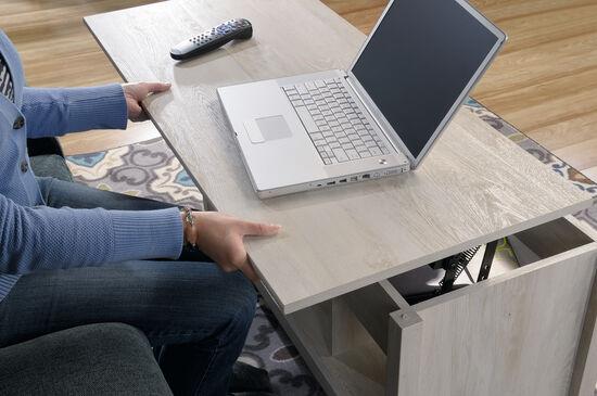 Rectangular Lift-Top Contemporary Coffee Tablein Chalked Chestnut