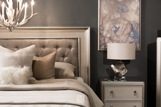 Four-Piece Transitional Bedroom Set in Platinum