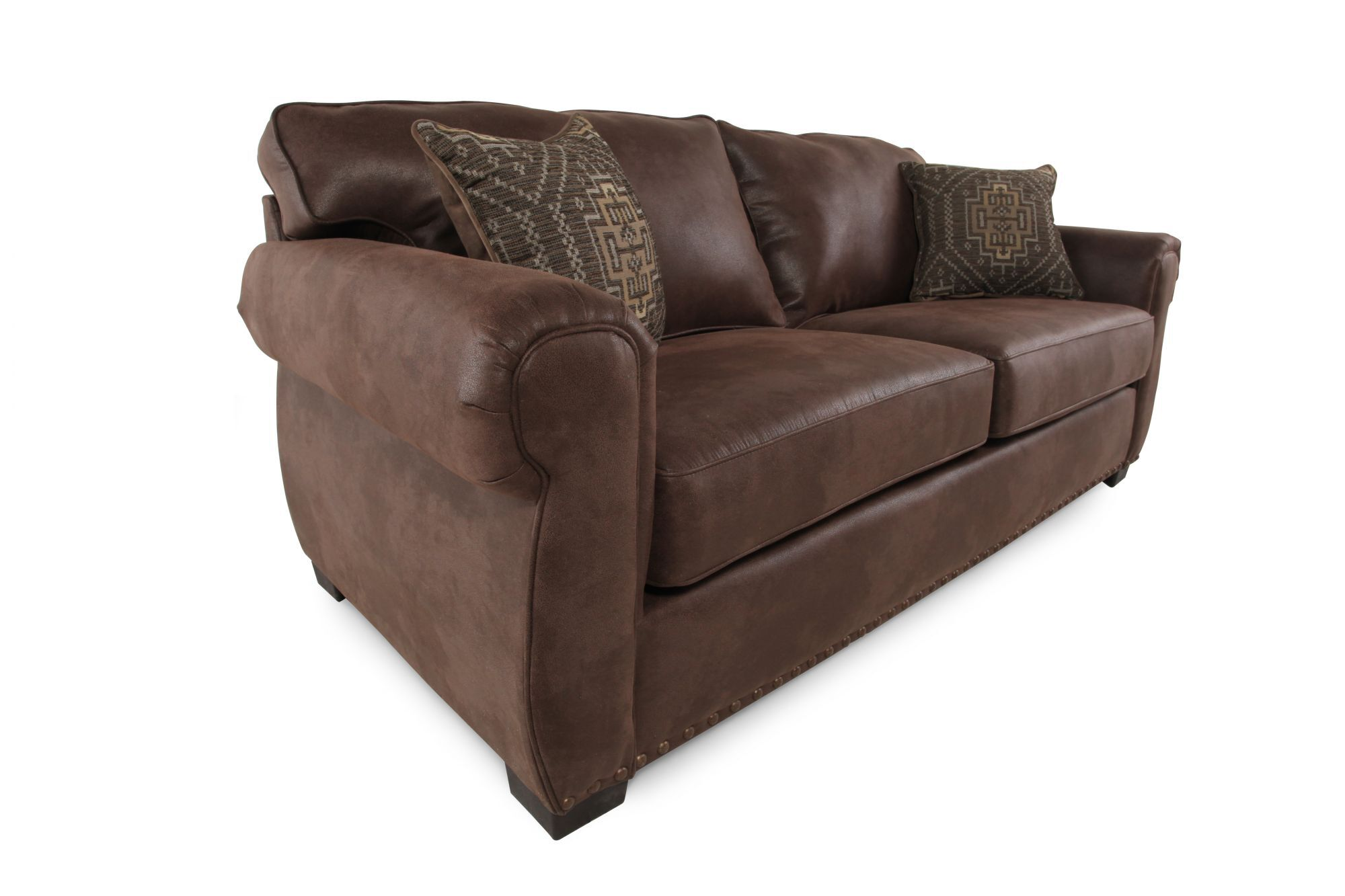 "Nailhead-Accented 39"" Sofa in Mocha 