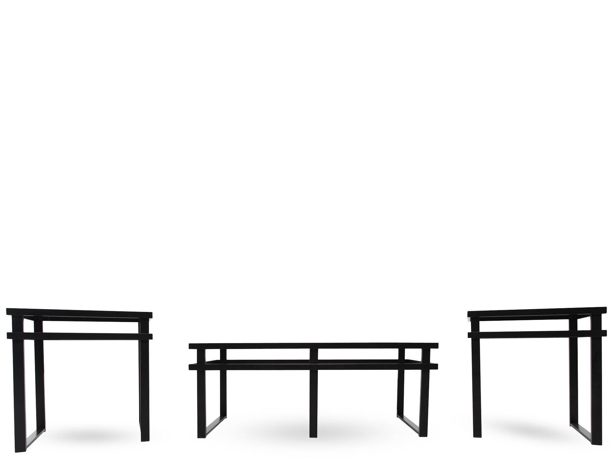Charmant Three Piece Contemporary Coffee Table Set In Black ...
