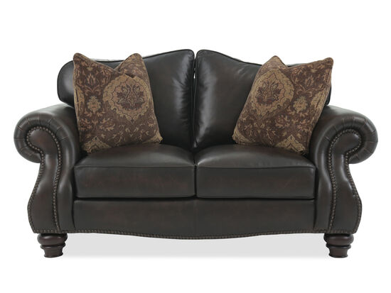 "Nailhead-Trimmed Leather 72"" Loveseat in Brown"