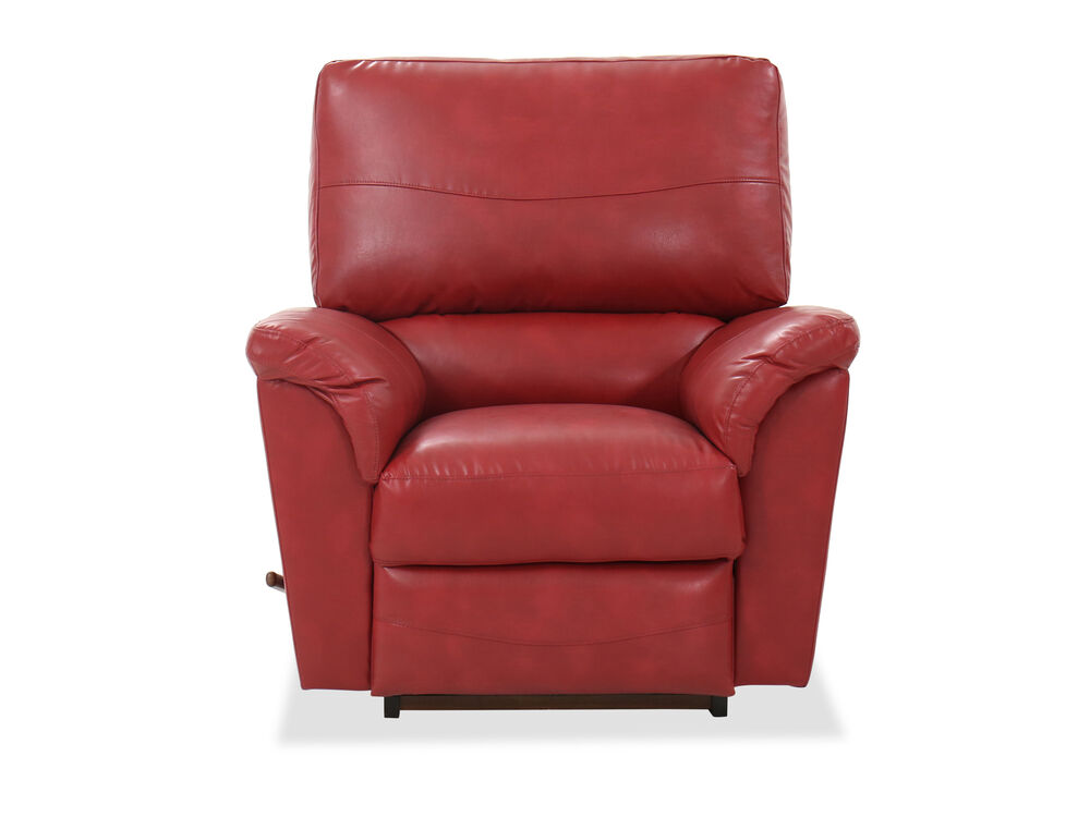 """40"""" Contemporary Leather Rocking Recliner in Red"""