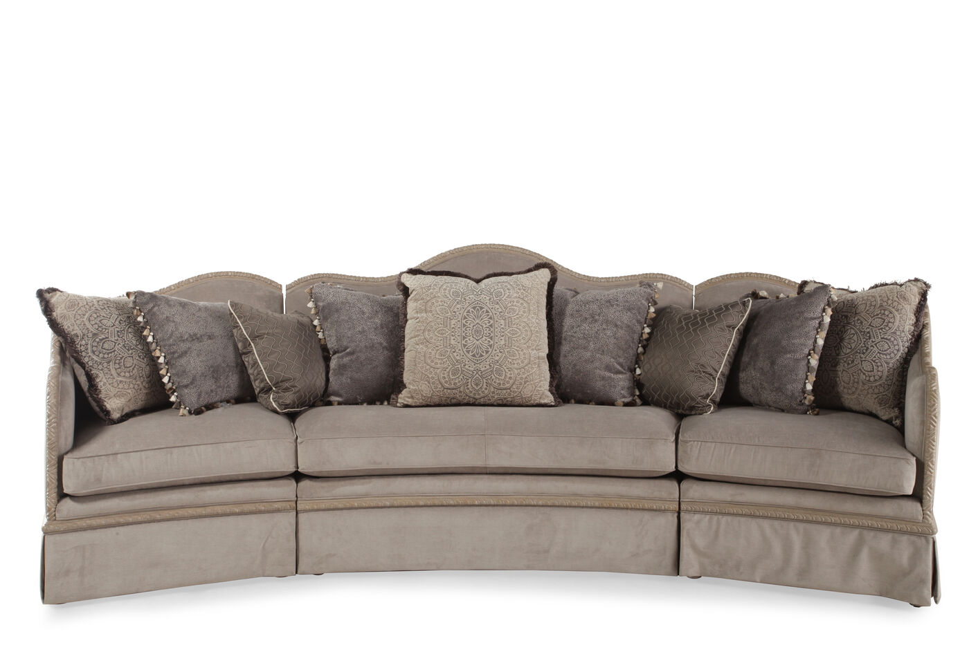 Three piece microfiber 1355quot sectional in slate mathis for 3 piece microfiber recliner sectional sofa