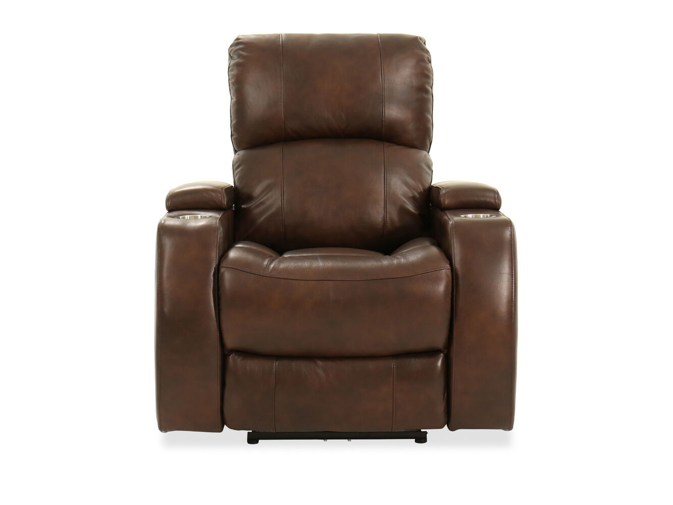 Two Cup Holder Leather 37 Power Recliner In Brown
