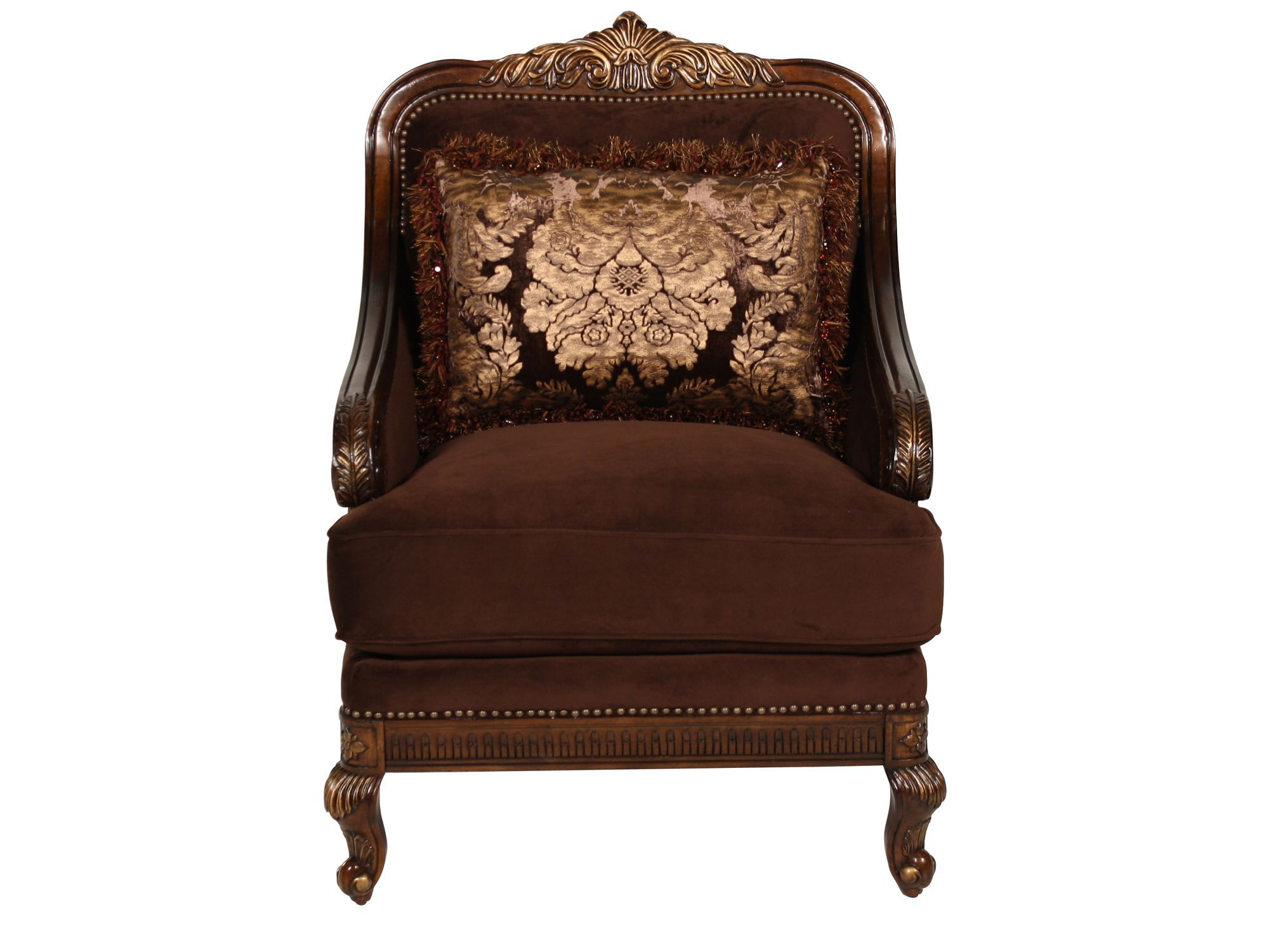 Carved Tradtional 33u0026quot; Velvet Chair In Brown