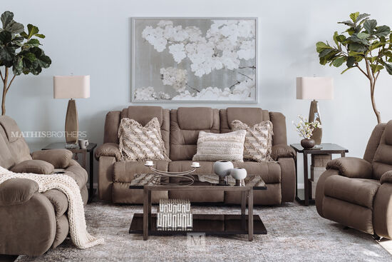 """Contemporary 87"""" Reclining Sofa in Cobblestone"""
