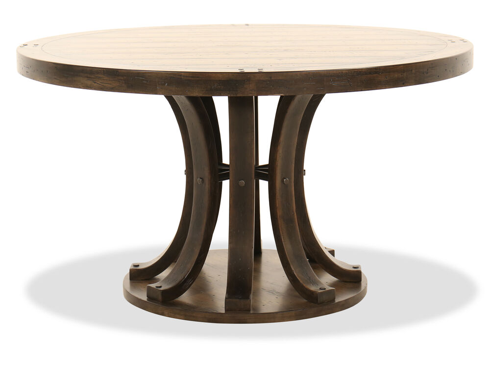 "Wood Round Dining Table: 54"" Round Dining Table In Dark Wood"