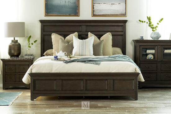 Transitional Paneled Bed in Driftwood