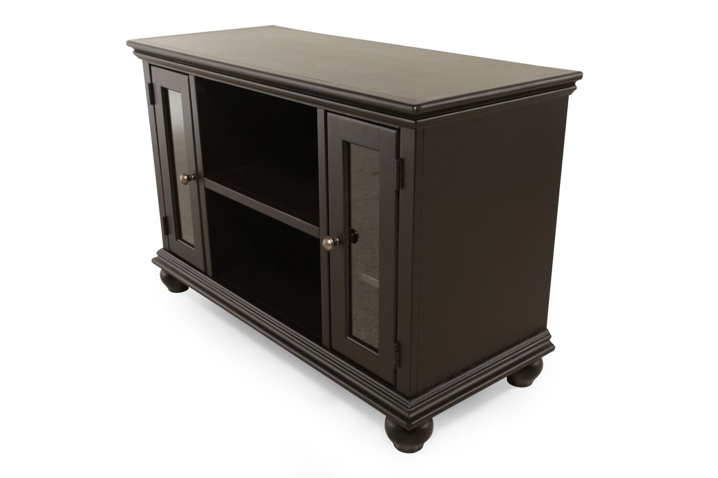 Glass Door Transitional Console In Matte Black Mathis