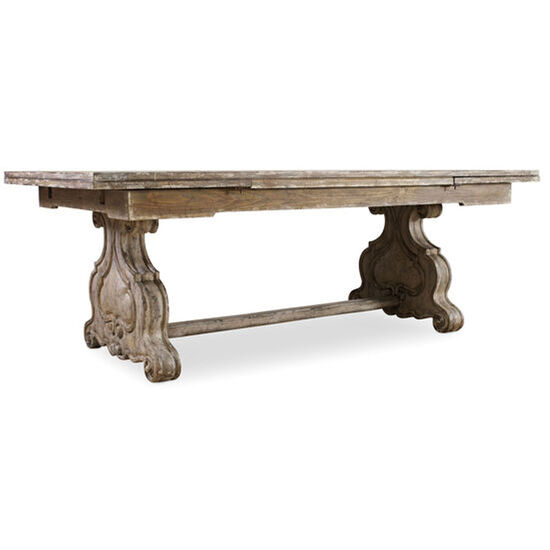 Chatelet Refectory Rectangle Trestle Dining Table With Two 22'' Leaves in Light Wood