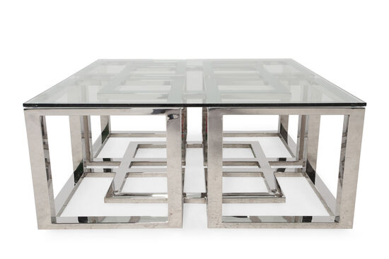 Tempered Glass-Top Glam Cocktail Table in Silver