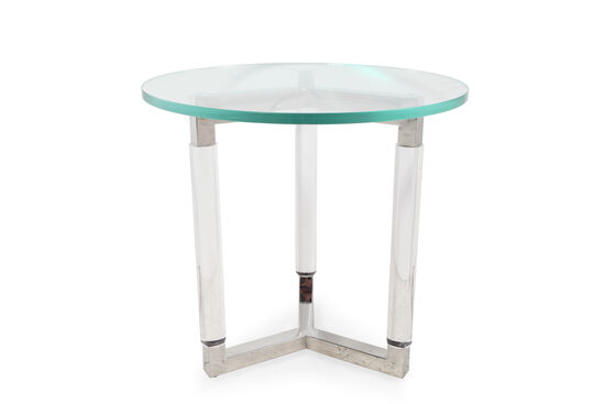 Glass-Top Round Glam End Table in Silver