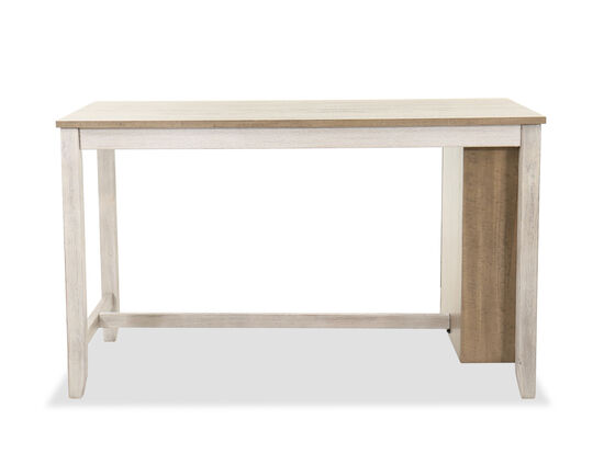 "Casual Rectangular 60"" Counter Pub Table in White/Brown"