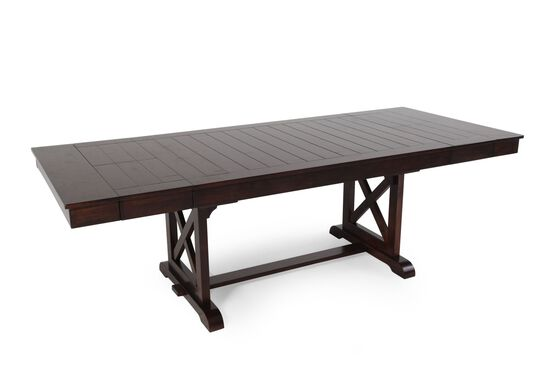 """Traditional 71"""" to 95"""" Trestle Dining Table with Butterfly Leaves in Dark Espresso"""
