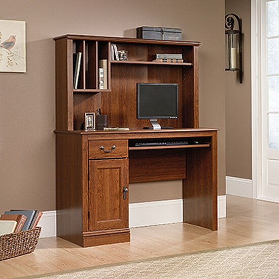 """43.5"""" Traditional Computer Desk with Hutch in Planked Cherry"""