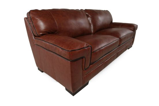 """Leather 91"""" Sofa in Chestnut Brown"""