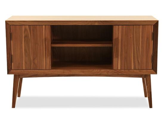 Modern Two-Door Rectangular Sofa Table in Walnut