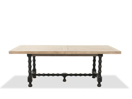 Rectangular Extension 84'' to 120'' Trestle Dining Table in Natural/Timeworn gray