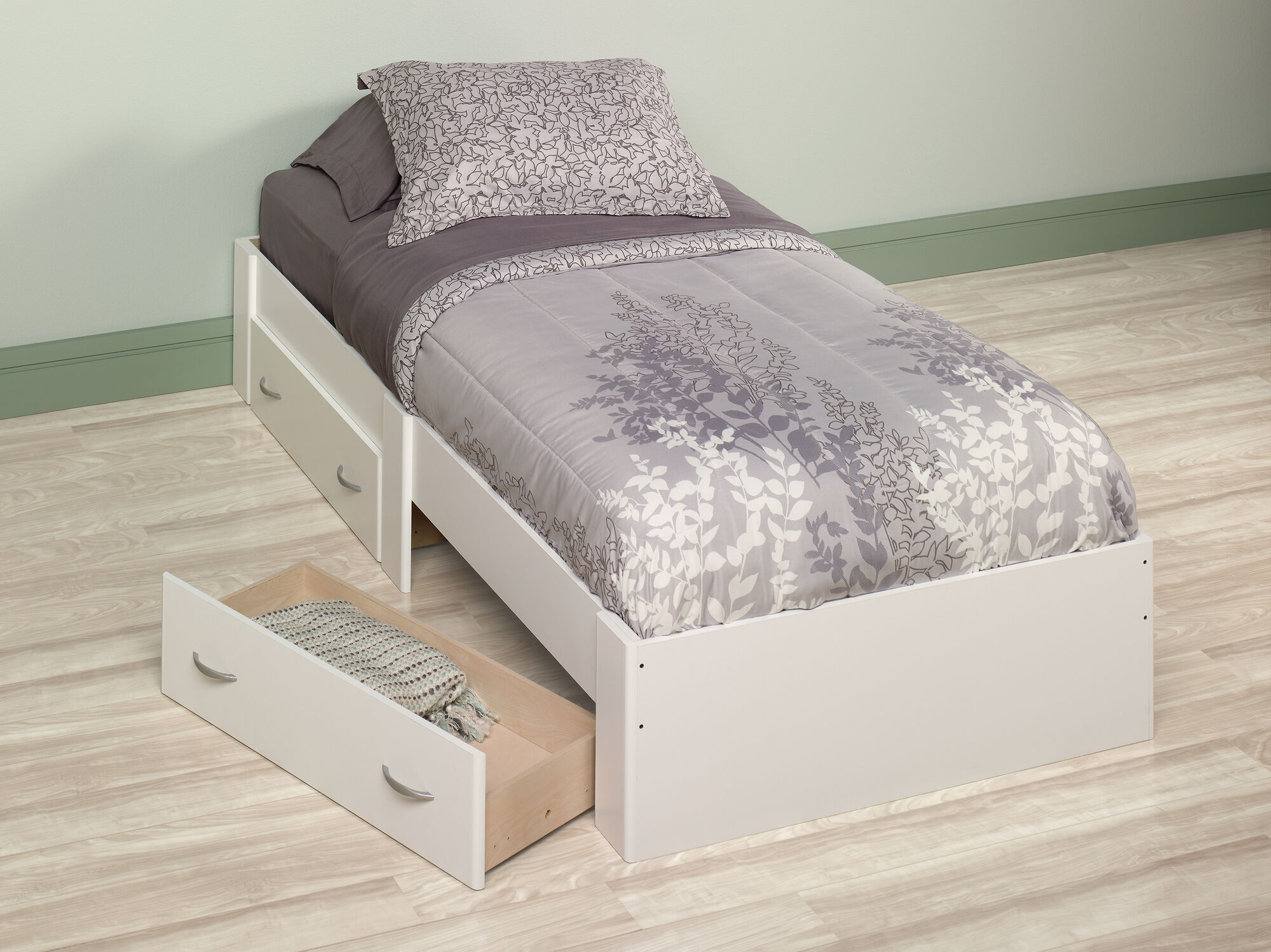 13 Quot Twin Platform Bed With Storage Drawer In Soft White