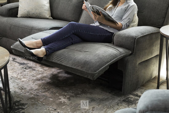 Casual Power Reclining Sofa in Charcoal