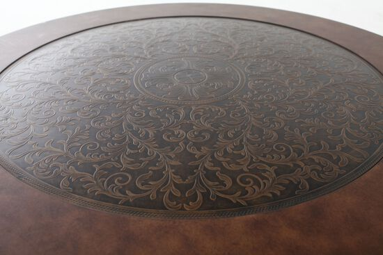 Scroll Base Traditional Cocktail Tablein Brown