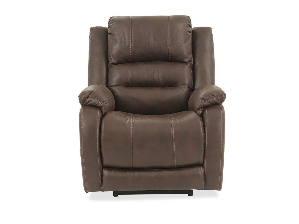 Pillow Top Arm Contemporary 34 5 Quot Power Recliner In Brown