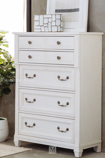 """52"""" Transitional Five-Drawer Chest in Cotton White"""