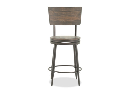 "Rustic Farmhouse 42"" Swivel Bar Stool in Brown"
