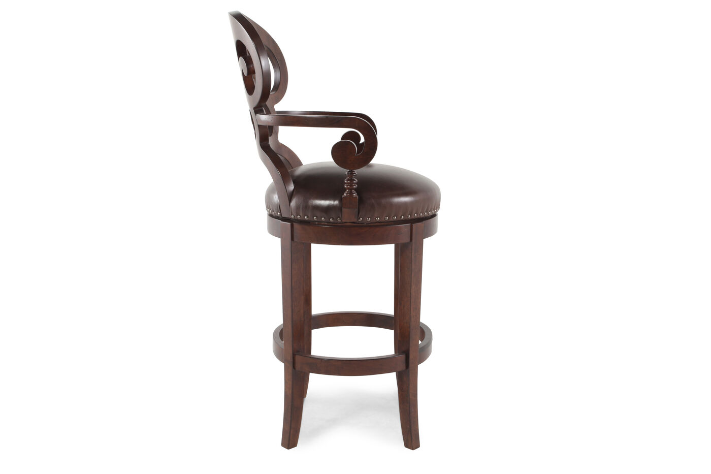 Nailhead Accented 47 Quot Leather Bar Stool In Dark Brown