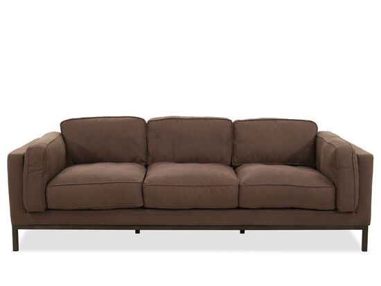 Low-Profile Three-Seater Sofa in Brown
