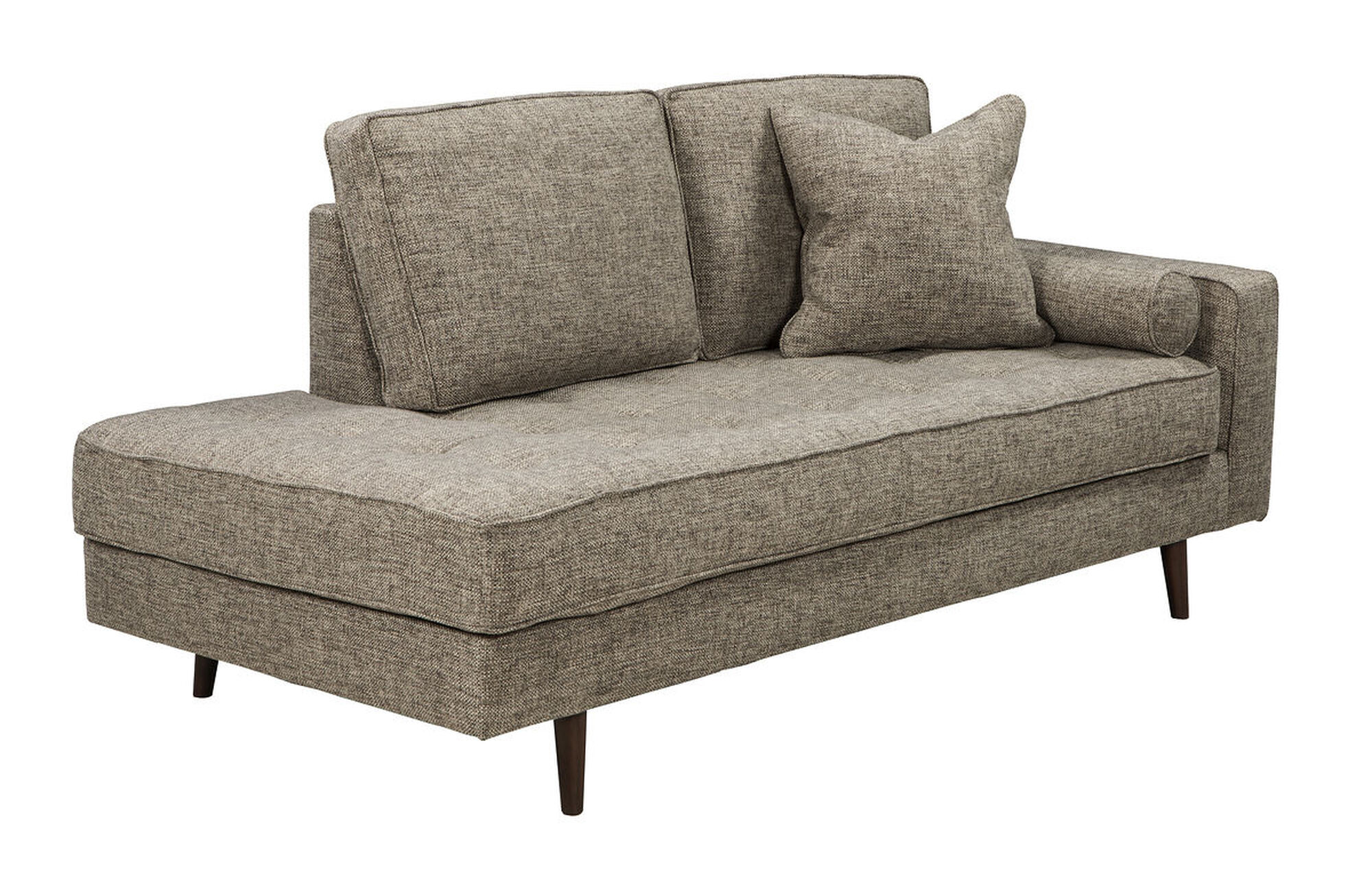 Tufted Mid Century Modern Right Arm Chaise In Jute Mathis Brothers Furniture