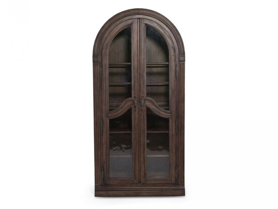 Two-Door Traditional Bunching Curio in Distressed Walnut