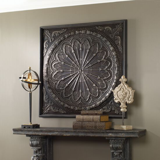 Antique Cream Wood Metal Wall Decor: Embossed Iron Wall Art In Antique Chocolate Brown