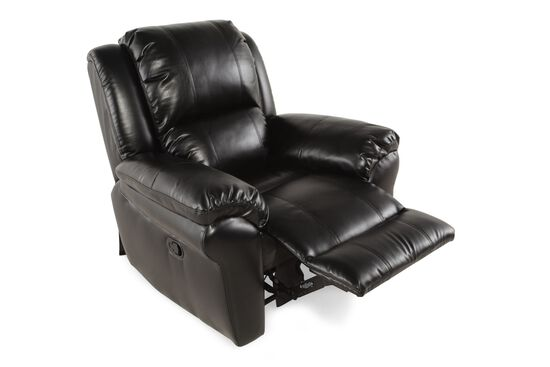 """Contemporary Leather 42"""" Power Recliner in Black"""