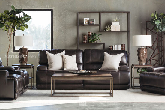 """Power Reclining Leather 91"""" Sofa in Blackberry"""