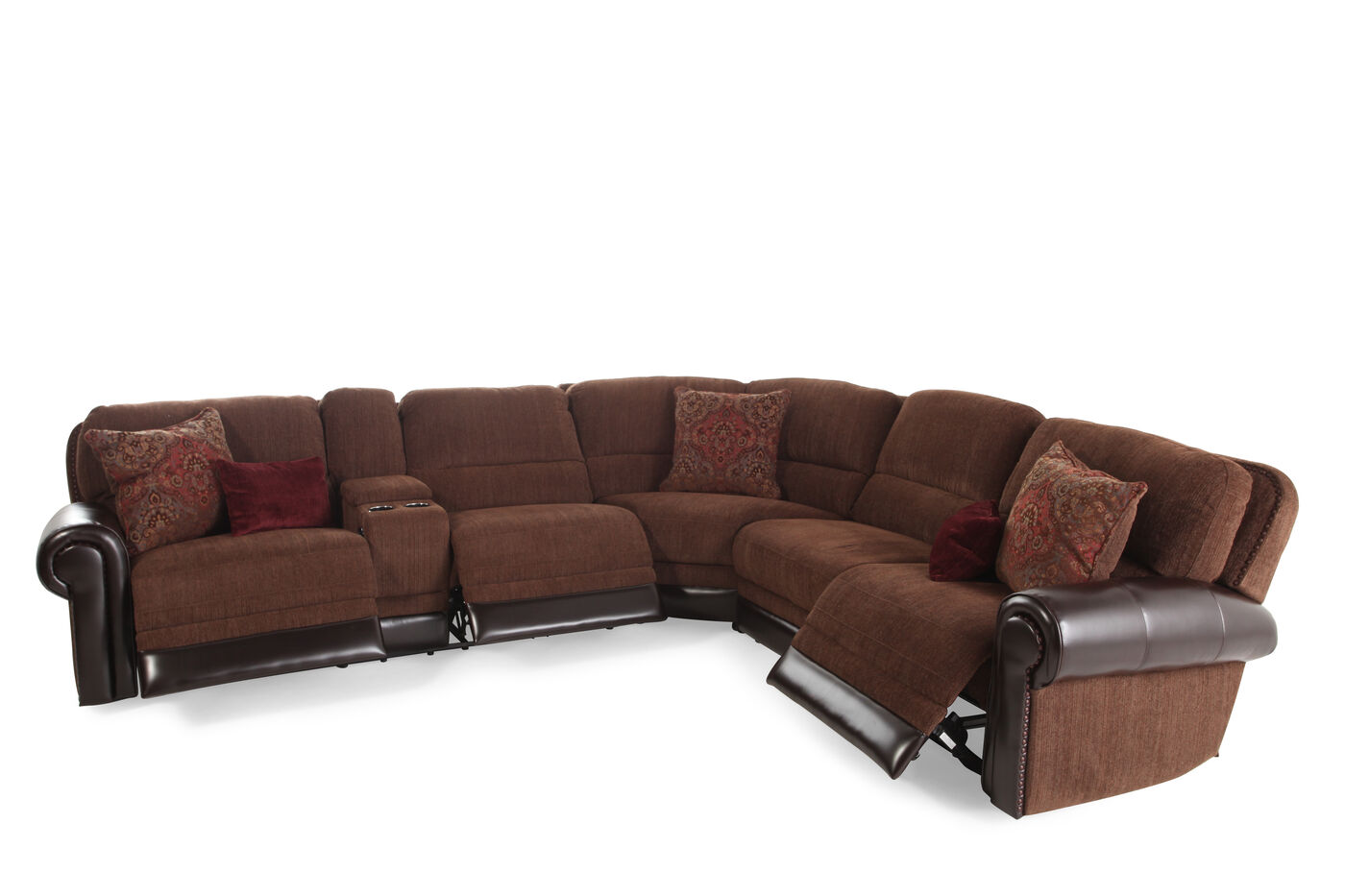 Traditional 98 Tapestry Patterned Power Reclining Sectional In Dark Russet Mathis Brothers