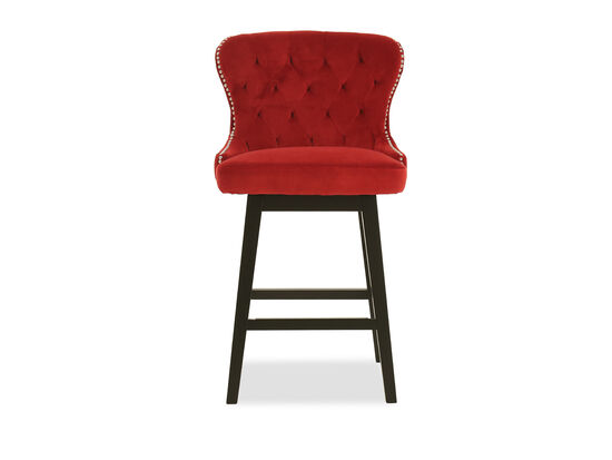 Diamond-Tufted Counter Stool in Red