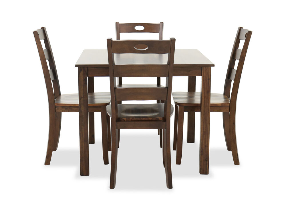 Five-Piece Casual Dining Set in Medium Brown