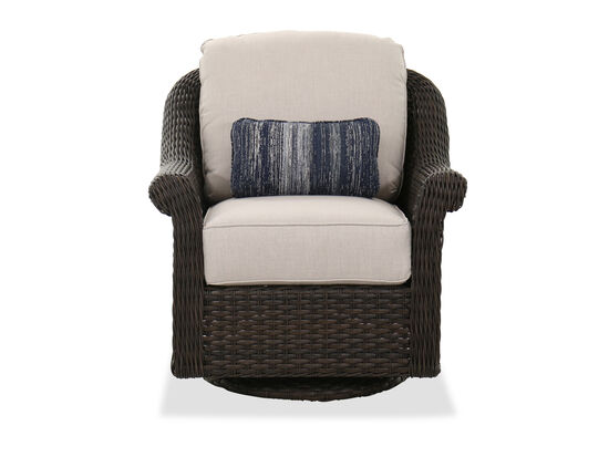 Contemporary Swivel Patio Club Chair in Dark Brown