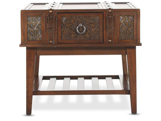 Square Buckle Accented Tradtional End Table in Rich Brown