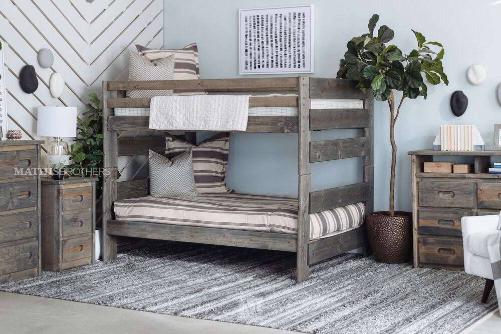 Traditional Youth Full Bunk Bed in Gray