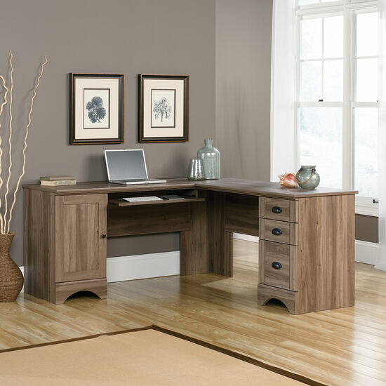 Traditional Three-Drawer Corner Computer Desk in Salt Oak