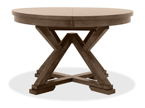 "66"" Transitional Round Dining Table in Brown"